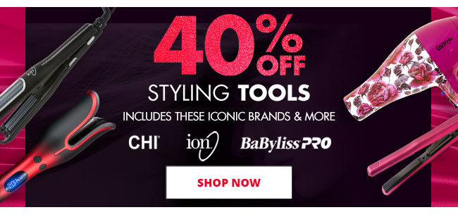 40% OFF STYLING TOOLS - INCLUDES ICONIC BRANDS LIKE CHI, ION AND BABYLISS PRO - SHOP NOW